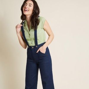 NWT ModCloth High Waisted Suspender Jeans SZ L
